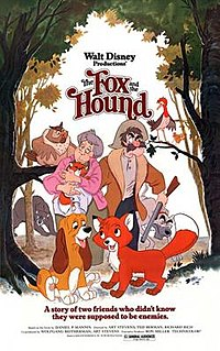 <i>The Fox and the Hound</i> 1981 American animated buddy drama film produced by Walt Disney Productions