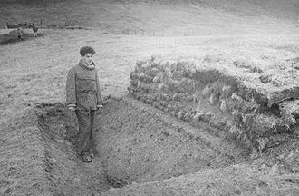 Pen-y-Gwryd - Surveying of the site prior to excavation of the Roman Camp in 1960