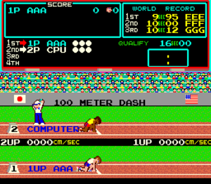 Track & Field (video game) - Gameplay screenshot of the start of the 100m dash.