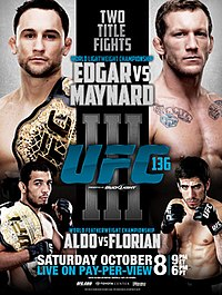A poster or logo for UFC 136: Edgar vs. Maynard III.