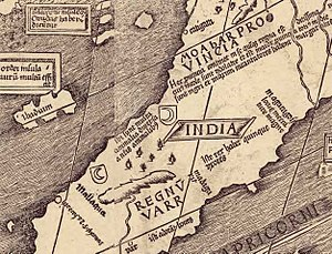 "Waldseemüller map - Detail of the map showing the names ""Catigara"" and ""Mallaqua""."