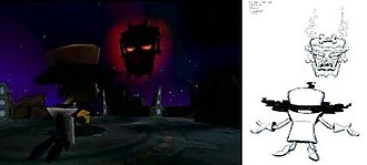 Crash Bandicoot: Warped - Uka Uka confronts Doctor Neo Cortex. The shot design and animation of the introductory sequence (shown on the left) was inspired by emotion sketches of Cortex begging for Uka Uka's forgiveness (shown on the right).
