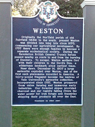 Weston, Connecticut - Town sign for Weston (front)