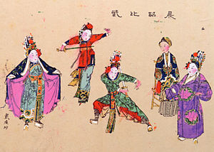 The Seven Heroes and Five Gallants - Chapter 31: The twins Ding Zhaolan and Ding Zhaohui and their mother watch as their cousin Ding Yuehua crosses sword with her future husband Zhan Zhao. (A New Year picture originally from Yangliuqing, collection of Waseda University.)