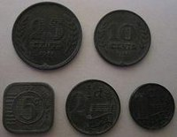 Zinc Coins Minted In The 1940s During German Occupation Of Netherlands Reverse