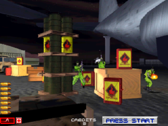 Area 51 (1995 video game) - A screenshot showing the player engaging in a battle with multiple opponents.