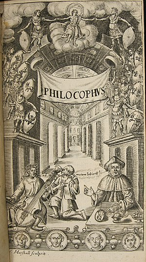 """John Bulwer - Frontispiece engraving from Philocophus showing a deaf man """"hearing"""" music by bone conduction through the teeth."""