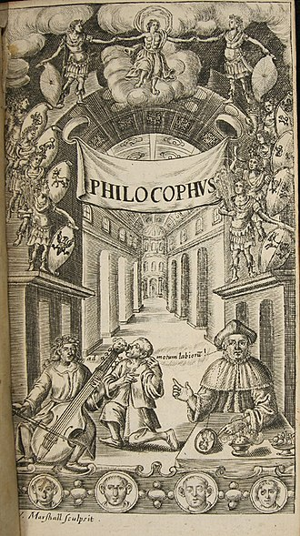"John Bulwer - Frontispiece engraving from Philocophus showing a deaf man ""hearing"" music by bone conduction through the teeth."