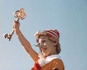 Buratino - Dmitri Iosifov as Buratino holding the Golden Key in the 1975 film The Adventures of Buratino