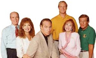 Coach (TV series) - Cast of Coach in Seasons 8 and 9 (left to right): Kenneth Kimmins, Shelley Fabares, Craig T. Nelson, Bill Fagerbakke, Katherine Helmond, and Jerry Van Dyke