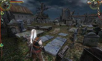 The Witcher (video game) - Geralt looking over Vizima's dilapidated cemetery