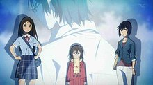 The Four Main Characters Of Erased From Left To Right Airi Katagiri Kayo Hinazuki Sachiko Fujinuma And Satoru 29 Years Old Background