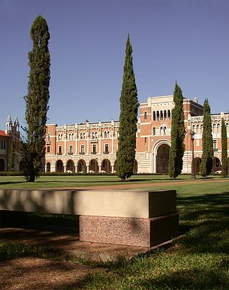 Rice University - A stone bench in the Academic Quad