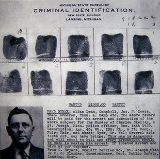 Fred Burke - Michigan law enforcement fingerprints and mug shot of Burke