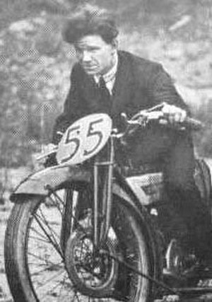 Freddie Dixon - Dixon at the controls of his 1923 TT-winning 'flat-tank' Douglas banking sidecar outfit with front disc brake