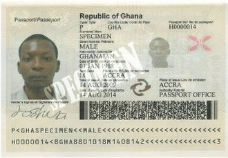 Ghanaian passport - Biographical data page from the Ghanaian passport.