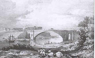 James Trubshaw - Grosvenor Bridge, Chester, in a lithograph by Thomas Bailey