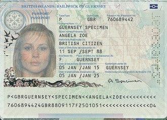 Guernsey passport - The biodata page of the Guernsey biometric passport