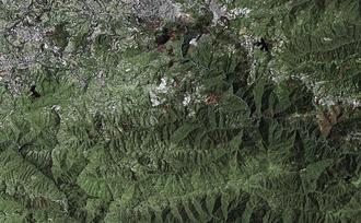 El Hatillo Municipality - Simulated-color Landsat 7 satellite image of El Hatillo and surrounding areas.