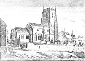 Iron Acton - 19th-century engraving of Parish church of St James the Less. The preaching cross, of which then only the base survived, erected by Sir Robert Poyntz, is shown in the churchyard, centre