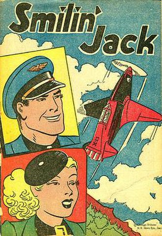 The Adventures of Smilin' Jack - Cover of Popped Wheat's 16-page Smilin' Jack giveaway comic book from 1947. Note no mustache.
