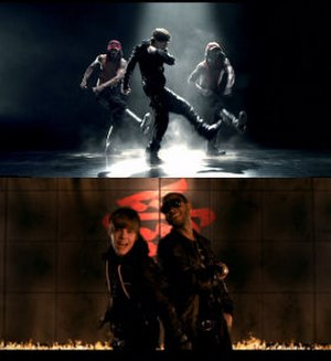 Somebody to Love (Justin Bieber song) - Bieber performing jerkin'-esque choreography with dancers and in a scene with a calligraphy backdrop and flame outline with Usher