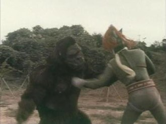 """King Kong Escapes - """"Gorilla"""" battles the Toho superhero Greenman from an episode of the 1973 series Go! Greenman. """"Gorilla"""" was portrayed by the King Kong suit from this film."""