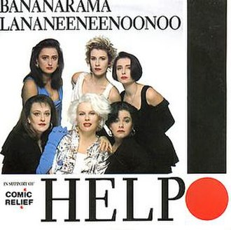 "French and Saunders - The single cover for ""Help!"" featuring French, Saunders, and Burke (Lananeeneenoonoo) with the real Bananarama"