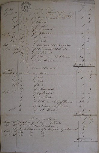 Luis Vernet - Image: Legajo 130 Doc 104 Account by Smith in 1835 for Lopez, Roxa, Coronel & Basilio. Page 1