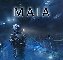 The name of the game accompanied by a man in a spacesuit.