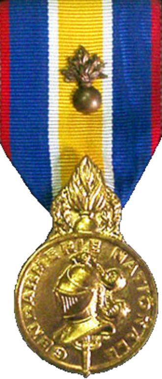 Médaille de la Gendarmerie nationale - Obvserse of the Medal bearing the now defunct grenade device