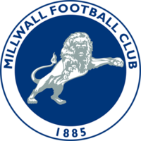 Millwall crest: a blue circle with a white border, in the centre is a white and grey lion, around the border are the words Millwall Football Club and the year 1885 in blue letters.