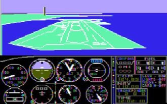 History of Microsoft Flight Simulator - FS 1.0 – This image is of FS 1.0 displaying color on a composite monitor. The game does have support for RGB monitors, but in monochrome only.