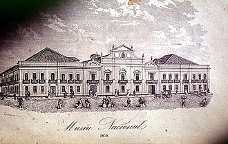 National Museum of Brazil - The National Museum at its first location in Campo de Sant'Anna, today's Praça da República, ca. 1870