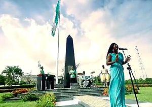 Nikki Laoye - Nikki Laoye on the set of the Nigerian National Anthem Video in 2013