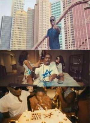 Off the Record (Tinchy Stryder song) - In the music video, Tinchy Stryder at the MGM Grand Adventures Theme Park (top) to enliven scenes in the MGM Grand Las Vegas hotel suite (middle) closing scene of the music video with Tinchy Stryder blowing out the candles on his Star In The Hood decorated Birthday cake (bottom).