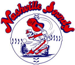 """A red, white, and blue cartoon baseball player swings at a baseball with a guitar in place of a bat set against a baseball with """"Nashville Sounds"""" written above in red letters with blue border"""