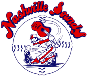 "A red, white, and blue cartoon baseball player swings at a baseball with a guitar in place of a bat set against a baseball with ""Nashville Sounds"" written above in red letters with blue border"
