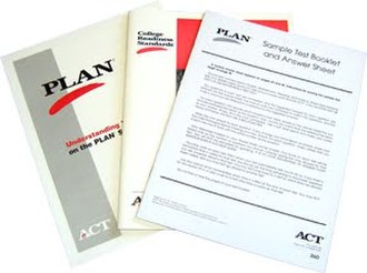 ACT (test) - Showing a picture of PLAN test booklets, a special version of the ACT for high school sophomores.