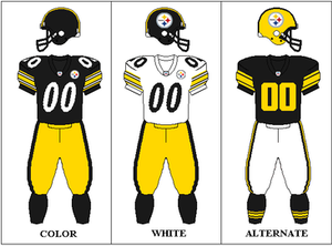 2010 Pittsburgh Steelers season - Image: Pittsburgh Steelers Uniforms 2007 2011