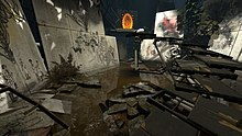 A screenshot of a chamber, swamped with water and overgrown vegetation. Parts of walls have fallen off from the sides of the room and have been painted with scenes of elements from the first game.