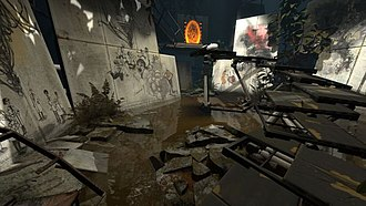 """Portal (series) - An early chamber in Portal 2 which includes art drawn by Michael Avon Oeming and Andrea Wickland as the in-game Rat Man character. The artwork depicts the events of the first game and ties in with the """"Lab Rat"""" comic."""