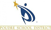 The logo of the Poudre School District. It appears to be a blue person wielding a golden star.