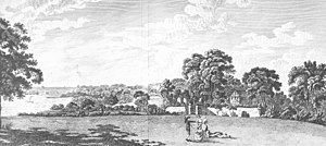 """Quarr Abbey - """"The Remains of Quarr Abbey on the Isle of Wight, Hants. The Property of John Fleming Esq."""" Engraving by Richard Godfrey of Long Acre, c. 1780. Published in Worsley, Sir Richard, History of the Isle of Wight, London 1781"""