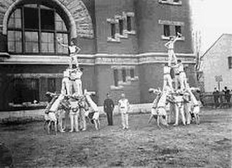 Royal Military College Paladins - Royal Military College of Canada Cadets perform human pyramid, 1901.