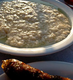 Roux - A dish of staka served as part of a meze, Souda, Crete.