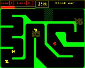 Stock Car (video game) - In-game screenshot (Acorn Electron)