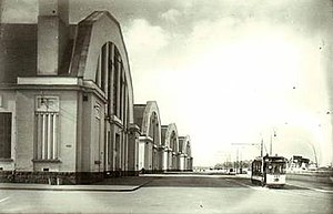Riga Central Market - Image: Street view of Riga Central Market's pavilions in 1930s