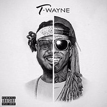 Black-and-white drawing of half of T-Pain and Lil Wayne's faces