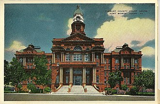 Tarrant County Courthouse - Postcard view of the Tarrant County, Texas courthouse, ca. 1933.